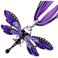 ERAWAN Dragonfly Charms Pendent Rhinestone Inlay Gemtone Chain Necklace Fashion Women EW sakcharn (Purple)
