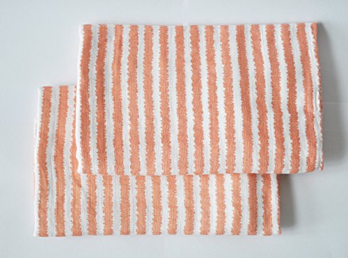 Bacati Ikat Coral Stripes 2 Pc Muslin Crib ()