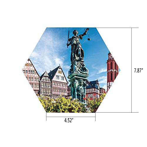 iPrint Hexagon Wall Sticker,Mural Decal,European,Old City of Frankfurt Germany with Historical Buildings Statue Cityscape Scenery Decorative,Multicolor,for Home Decor 4.52x7.87 10 Pcs/Set