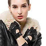 Nappaglo Women's Fingerless Driving Leather Gloves Nappa Leather Mesh Half Finger Driving Cycling Motorcycle Gloves