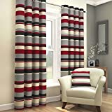 Red Black Grey Cream Striped Ring Top Fully Lined Pair of Eyelet Ready Made Curtains (66 Wide x 90 Drop) by Tony's Textiles