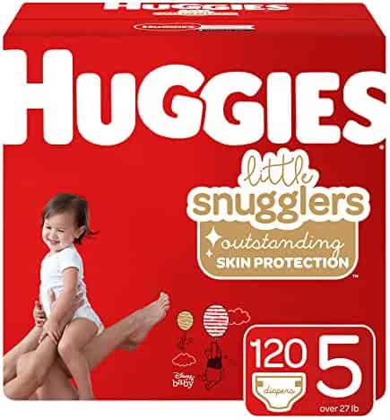 Huggies Little Snugglers Baby Diapers, Size 5 (fits 27+ lb.), 120 Ct, Economy Plus Pack (Packaging May Vary)