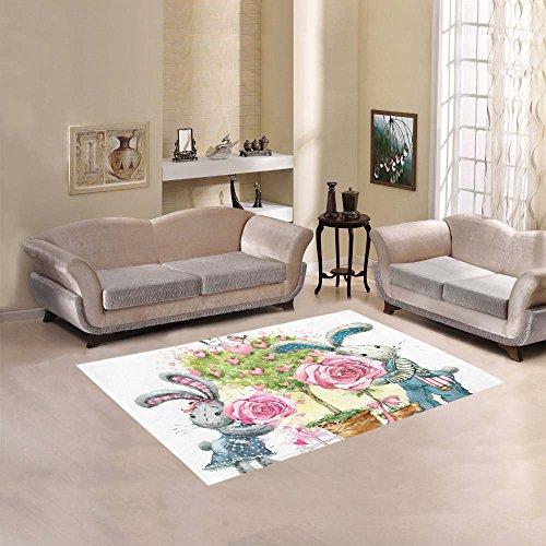 Happy More Custom Cute Bunny Rabbit Area Rug Indoor/Outdoor Decorative Floor (Rabbit Rug)