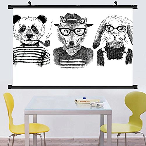 Gzhihine Wall Scroll Animal Hipster Panda Bear Cigar Fox and Rabbit Glasses Human Clothes llustration Wall Hanging Black Grey White 35
