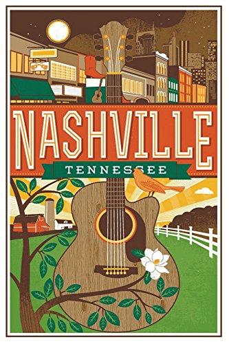 Nashville, Tennessee, Guitar, Poster Art, Souvenir Magnet 2 x 3 Fridge - Airport Tennessee In Nashville