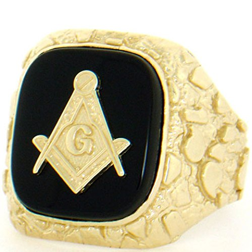 (14k Solid Yellow Gold Nugget Onyx Masonic Mens Ring)