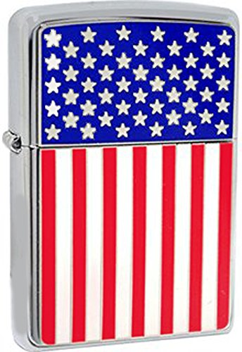 American Flag Color Image High Polished Chrome Patriotic Zippo Lighter ()