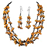 Fun Dyed Sea Shell Chip on Thread layered Necklace Dangle Earrings Set (Orange Yellow)