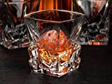 Iceberg Whiskey Glasses, Scotch Glasses By Ashcroft - Set of 2. Unique, Elegant, Dishwasher Safe, Glass Liquor or Bourbon Tumblers. Ultra-Clarity Glassware. 15.3 Ounce.