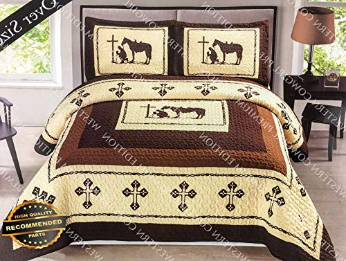 Werrox Texas Praying Cowboy Cross Western Quilt Bedspread Comforter 3 Pcs Oversize Set | Oversize King Size | Quilt Style QLTR-291265510