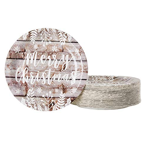 Disposable Plates - 80-Count Paper Plates, Christmas Holiday Party Supplies for Appetizer, Lunch, Dinner, Dessert, Vintage Wood Panel Merry Christmas Design, White, 9 Inches Diameter