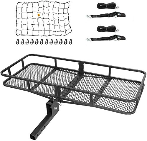 Ark Motoring Hitch Mount Cargo Carrier with Tie Down Straps and Net, 60 x 24 x 6-Inch, 500 lbs Capacity, 2-Inch Folding Shank, Black Steel