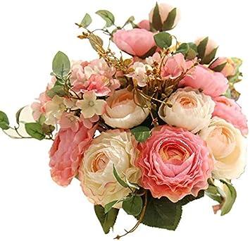 Lovefei - Ramo de hortensias artificiales de seda artificial, claveles de plástico, arreglos de flores realistas, decoración de bodas, centros de mesa, 2 paquetes