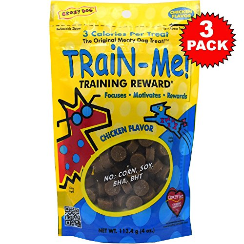 3 PACK Crazy Dog Train-Me! Treats Chicken Flavor (10.56 oz) (Dog Crazy Train Me)