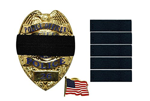 Show Unity for a Fallen Officer! Blue Lives Matter - Bands of Mourning - Mourning Bands for Badges - Police - 5 Mourning Band Black (.5 Inches) – Black Mourning Band & 1 Inch Free American Flag Pin