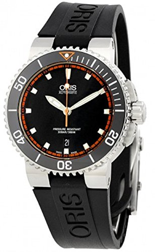Oris Aquis Mens Date 42MM Automatic Black Face Black Rubber Strap Swiss Watch 73376534128RS1