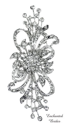 (Elegant Sparkling Austrian Rhinestone Crystal Brooch in Assorted Plated Colors of Rhinestone-Encrusted Ribbon and Floral Design for Wedding, Prom, Quinceañera or Other Special Events (EB #D2G8as))