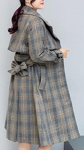 Wool Trench Coat Women's TTYLLMAO Coat Lapel Grey Blend Jacket Plaid Winter Pocket 1FqY4