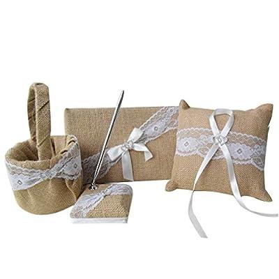 AmaJOY Double Heart 4pcs Rustic Burlap Lace Wedding guest Book Pen Set Flower Basket Ring Pillow Favors Wedding Set with Rhinestone, Ribbon Embellishment