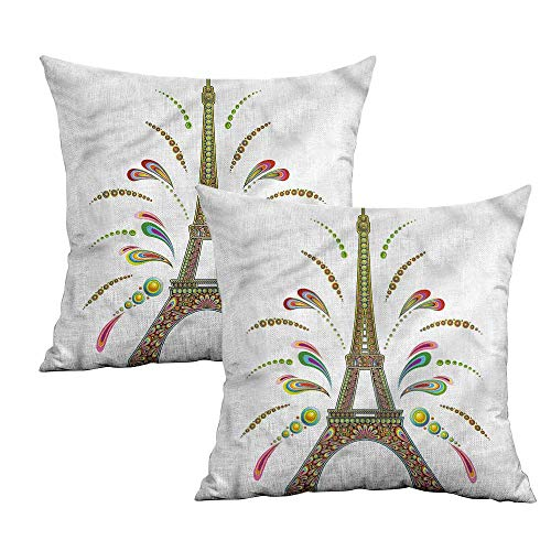 (Khaki home Psychedelic Square Funny Pillowcase Eiffel Fireworks Square Body Pillowcase Cushion Cases Pillowcases for Sofa Bedroom Car W 24