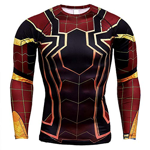 HOOLAZA Spiderman Shirt Red Avengers Super Heroes T-Shirt Sport Shirts Long Sleeve Running Motion Fitness M