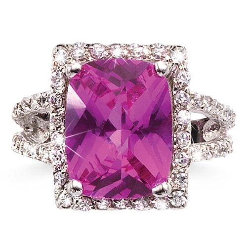 6.5-Carat Synthetic Pink Sapphire and CZ Cushion Cut Ring