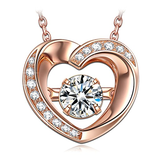 (DANCING HEART Women Heart Necklace 925 Sterling Silver Rose Gold Pendant Japan Stone Cubic Zirconia Fine Fashion Costume Jewelry Birthday Gift For Her Wife Sister Mum Mother )