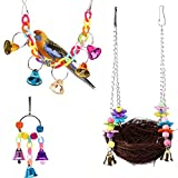 KZHAREEN Bird Swing Toys with Bird's Nest Swing Hanging Bell Toy Set for Small Birds Parakeets Cockatiels, Conures, Macaws, Parrots, Love Birds, Finches Cages Decorative Accessories(3 Pack)