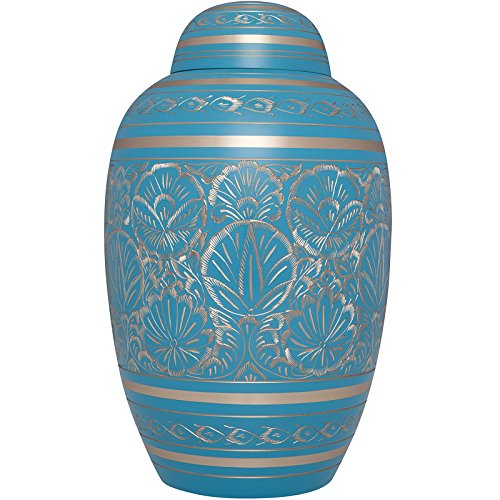 Light Blue and Gold Funeral Urn by Liliane Memorials- Cre...