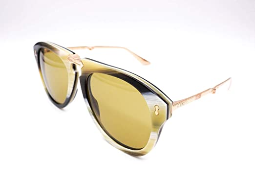 b75f8d418d7ab Image Unavailable. Image not available for. Color  Gucci GG0305S 003  Foldable Beige Striated Plastic Aviator Sunglasses ...