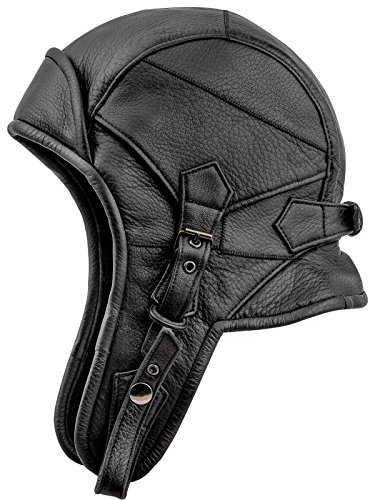 Sterkowski Genuine Leather 8 Aviator Helmet Trapper Cap US 6 3/4 Black