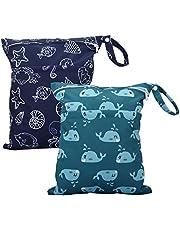 Cloth Diaper Wet Dry Bags Set Waterproof Reusable Dual Zipper for Baby Kids Gym Travel Laundry Swimsuit Towel 2pcs (WB02-Whale-Halobios)