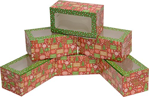 Mini Treat cookie Boxes; rectangular with clear window; 8 - 3 packs; 24 foldable boxes (Green & Red Gingerbread)