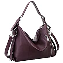 Heshe Large Capacity Womens Leather Handbags Vintage Shoulder Bags for Ladies Totes Purse Crossbody Satchel Bag