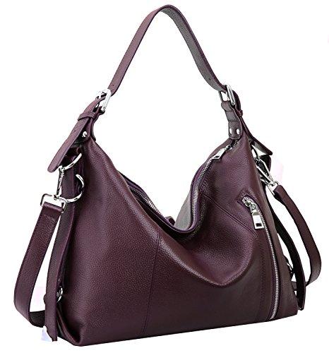 Heshe Vintage Leather Handbags for Women and Ladies Casual Shoulder Handbag Tote Top Handle Bag Satchel Purses (Top Grain Leather-Violet) ()