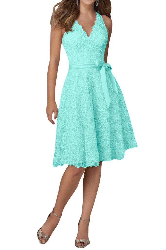 Charm Bridal Lace V neck Junior Girl Summer Party Prom Dresses Short Knee Length -14-Mint green
