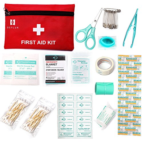 Foil Face Blanket (Mini First Aid Kit, 60 Pieces Mini Small First Aid Kit includes Emergency Foil Blanket, CPR Face Mask for Home,Vehicle,Travel,Office,Workplace,Child Care, Hiking,Survival & Outdoor)