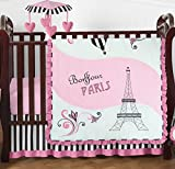 Pink, Black and White Stripe Paris Baby Girl Bedding 4 Piece French Eifell Tower Crib Set Without Bumper