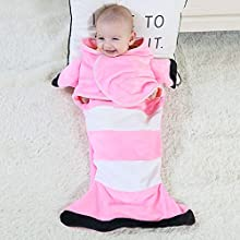 Baby Sleep Sack, Wearable Swaddle Blanket Wrap Adjustable for Unisex Toddlers Boy Girl, Comfortable Flannel Plush Breathable, Allow Newborn Better Relax Sleep, Cute Fish Shape Baby Sleeping Bag