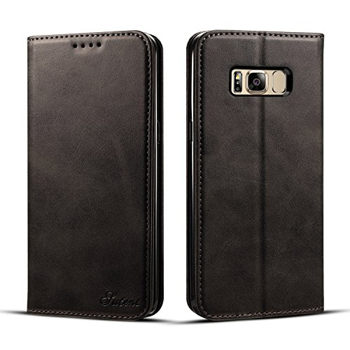 Funda Samsung Galaxy S8+/S8 Plus, Airart Funda Cuero Resistente, Soporte Plegable, Ranuras para Tarjetas y Billetes, Estilo Libro, Acceso a Botones, Cierre Magnético (Samsung Galaxy S8 Plus, Marrón) Negro
