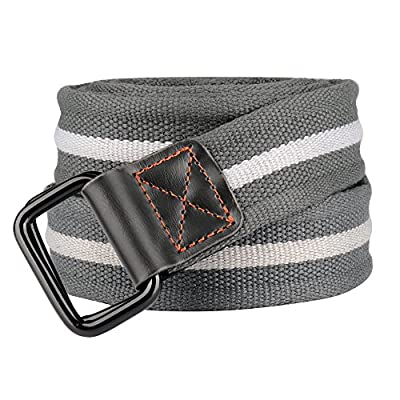 Drizzte Mens Plus Size 39-71'' Double D Ring Canvas Cloth Belts Grey