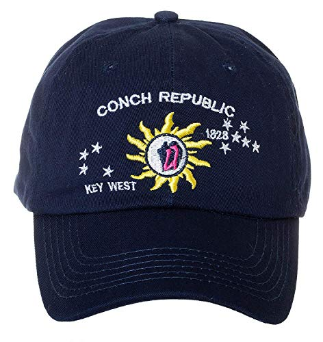 Artisan Owl Conch Republic Key West 1828 Navy Cap Hat -100% Cotton Embroidered Hat ()