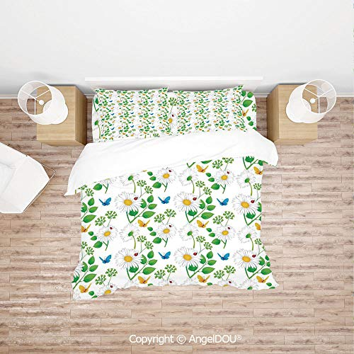 PUTIEN Modern Cotton Bedding 4 Pieces Set Duvet Cover Set,Macro Chamomiles and Ladybugs Illustration Playful Magic Spirits of The Nature,for Colorful Home Decor.