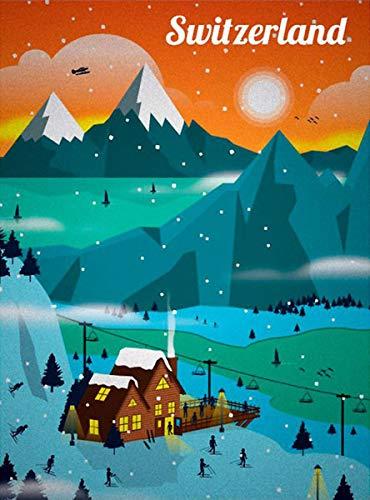 American Vinyl Vintage Art Switzerland Sticker (Switzerland Swiss alps ski Skiing Travel rv)