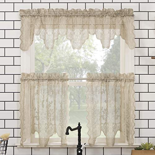 No. 918 Alison Floral Lace Sheer Rod Pocket Kitchen Curtain Valance and Tiers Set, 58 x 24 3-Piece, Stone