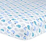 Gerber 100% Cotton Fitted Crib Sheet, Whales