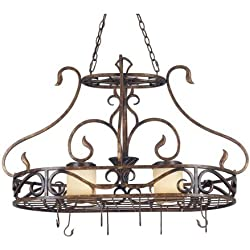 Kenroy Home 90505AGC Verona Two-Light Potrack, Aged Gold Copper with Copper Vintage Scavo Globes