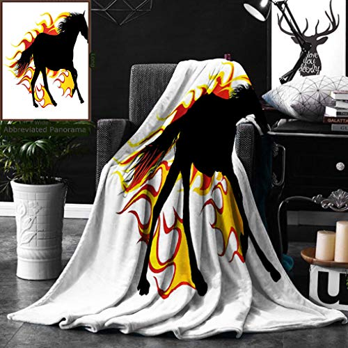 Unique Custom Double Sides Print Flannel Blankets Equestrian Decor Horse Silhouette Running In Flame Tongues Animal Sport Hobby Prin Super Soft Blanketry for Bed Couch, Throw Blanket 50 x 60 Inches