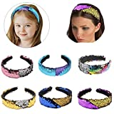 6Pack Reversible Sequin Headbands Color Changing Flip Sequin Headbands Bling Glitter Sparkly Fashion Headband Magic Alice Hair Band Hair Accessories for Girls Teens Kids Children Women
