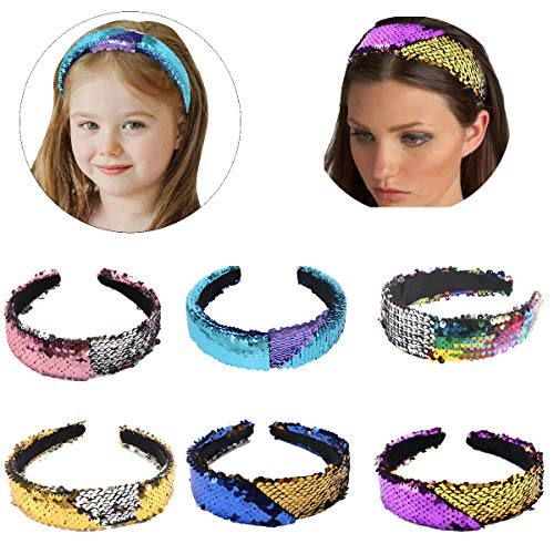 Sequin Hair Band - 6Pack Reversible Sequin Headbands Color Changing Flip Sequin Headbands Bling Glitter Sparkly Fashion Headband Magic Alice Hair Band Hair Accessories for Girls Teens Kids Children Women